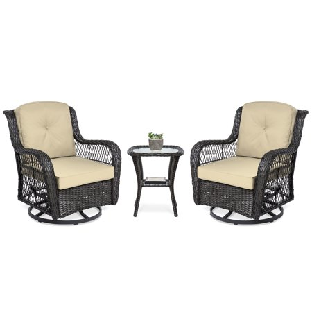 Best Choice Products 3-Piece Outdoor Wicker Patio Bistro Set with 2 360-Degree Swivel Rocking Chairs and Tempered Glass Top Side Table, Beige ()