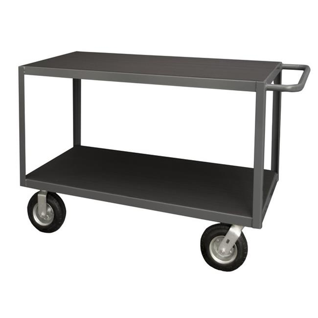 Durham RIC-3048-2-95 14 Gauge Tubular Push Handled Shelf Rolling Instrument Cart with 2 Shelves & All Lips Down, Gray