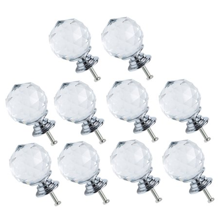 30mm Dia Crystal Knobs Wardrobe Dresser Door Knobs Pull Handle for Home Office Furniture Cupboard Decorative Clear 10pcs ()