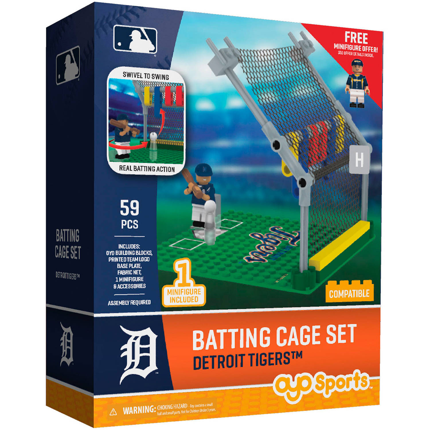 OYO Sports MLB Batting Cage Building Block Set, Detroit Tigers by OYO Sportstoys, Inc.