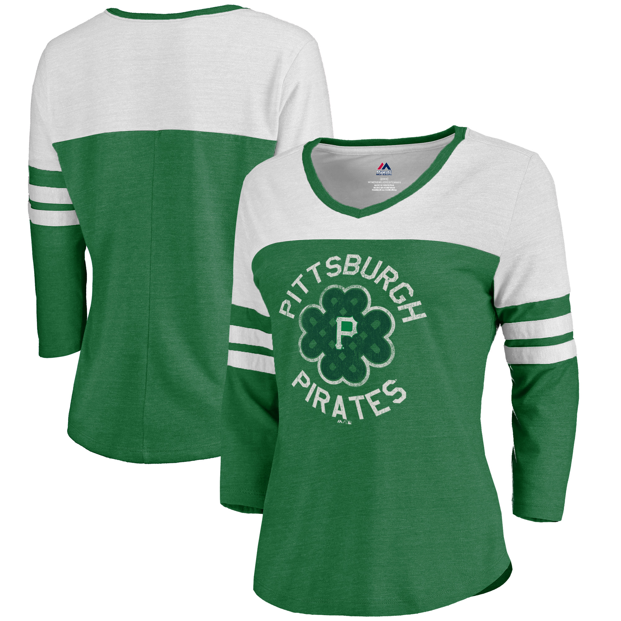 Pittsburgh Pirates Majestic Women's Luck Tradition Color Block 3/4-Sleeve Tri-Blend V-Neck T-Shirt - Kelly Green