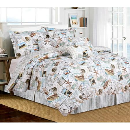 Blue & Tan Postcard, Cottage, Beach House, & Seashells Reversible 7 Piece Queen Comforter Set