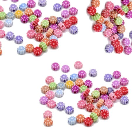 900 Acrylic (900 Random Acrylic Spacer, Loose Beads, Round 6mm Flower, Loose Beads, Hole 1.2mm )