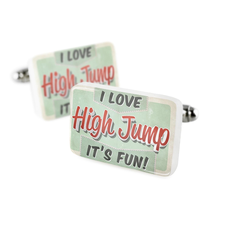 Cufflinks I Love High Jump, Vintage designPorcelain Ceramic NEONBLOND
