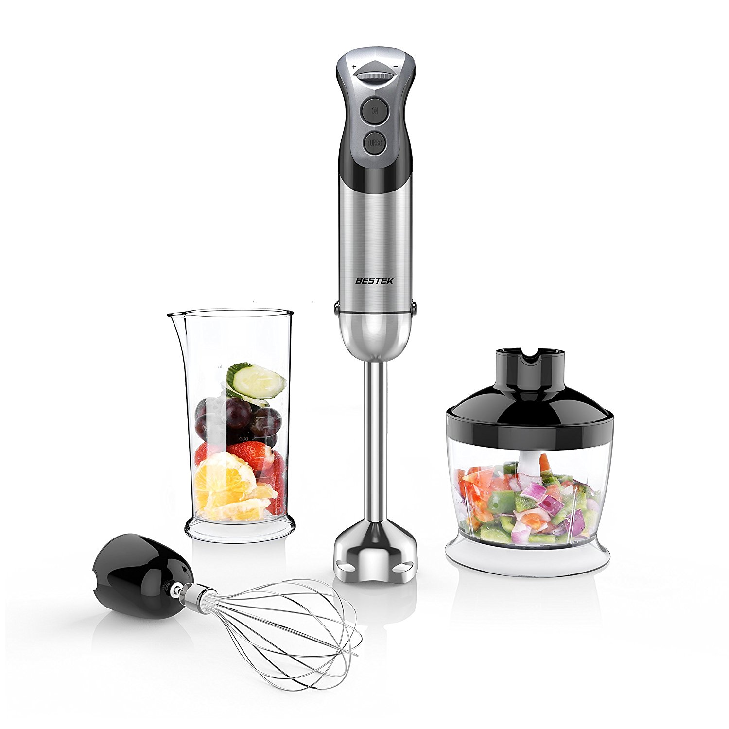 BESTEK Immersion Hand Blender 350 W 2 Speed 4-in-1 Smart Stick Hand Mixer Set with Food Chopper Attachment,... by Bestek