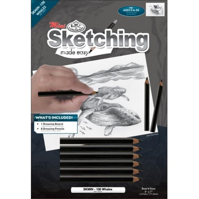 Royal Brush SKMIN-106 Mini Sketching Made Easy Kit 5 inch x 7 inch-Whales