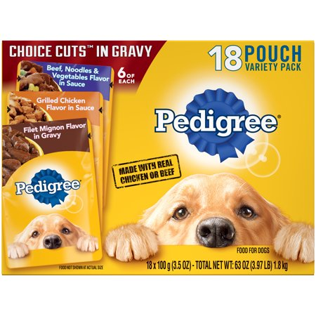 Dogs 8 Ounce Pouches - PEDIGREE CHOICE CUTS in Gravy Adult Wet Dog Food Variety Pack, (18) 3.5 oz. Pouches