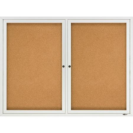 Quartet Enclosed Natural Cork/Fiberboard Bulletin Board, 48