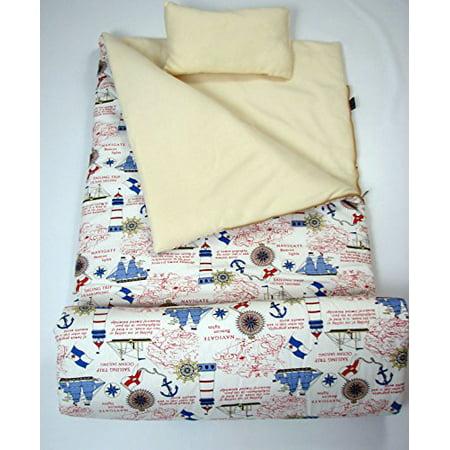 Sleeping Bag Girl (SoHo Kids Collection, Fun Slumber Kid Toddler Sleeping Bag for Boys or Girls, Fleece Interior with Travel Pillow and Storage Bag, (Ocean)