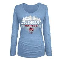 Colorado Rapids 5th & Ocean by New Era Women's Tri-Blend U-Neck Long Sleeve T-Shirt - Light Blue