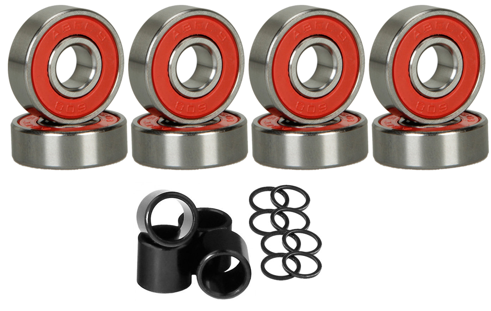 Click here to buy 8 Skateboard Longboard Bearings PRECISION ABEC 9 RED SHIELD With Spacers Washers.
