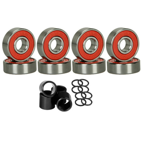 8 Skateboard Longboard Bearings PRECISION ABEC 9 RED SHIELD With Spacers Washers ()