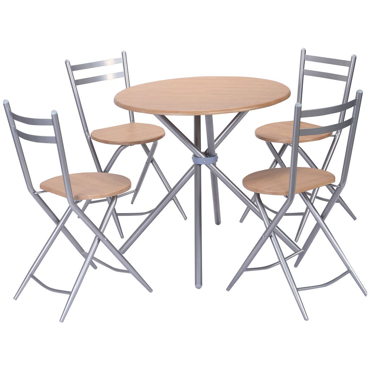 Costway 5 PCS Folding Round Table Chairs Set Furniture Kitchen Living Room  New