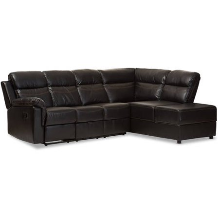 Faux Leather Reclining Sectional - Baxton Studio Roland Modern and Contemporary Black Faux Leather 2-Piece Sectional with Recliner and Storage Chaise