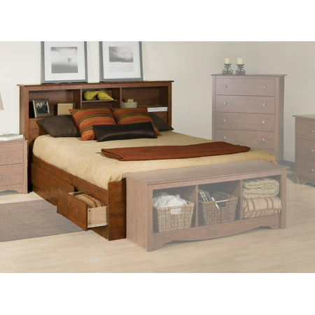 Platform Storage Bed W Bookcase Headboard Color Cherry