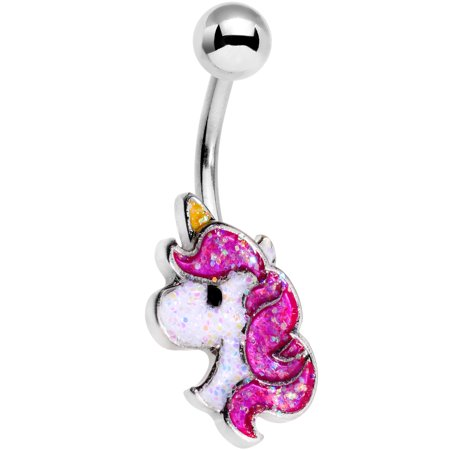 "Body Candy 14G 316L Stainless Steel Navel Ring Piercing Glitter Unicorn Belly Button Ring 7/16"" 11mm"