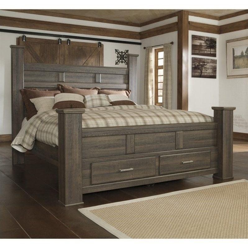 Signature Design by Ashley Furniture Juararo Poster Bed Storage Bed in Dark Brown