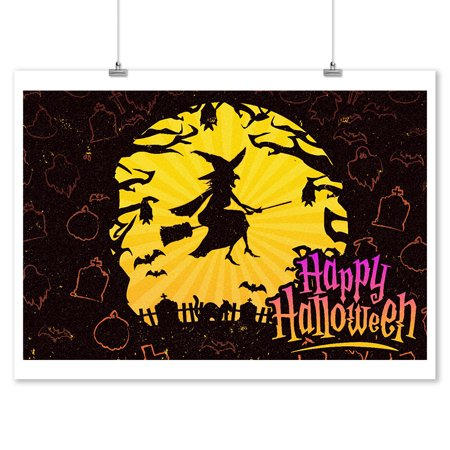 Happy Halloween - Witch Flying - Lantern Press Artwork (9x12 Art Print, Wall Decor Travel Poster) - Happy Halloween Artwork