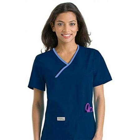 16ba98aa432 Landau - Urbane Scrubs 9534 Women's Double Pocket Crossover Top, Navy/Ceil,  Small - Walmart.com