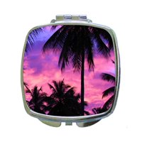 Purple-Pink Palm Tree Beach Ocean Sunset - Compact Square Silvertone Mirror