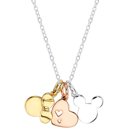 Disney Silver-Tone Tri-Tone Mickey Mouse and Minnie Mouse Heart Charm Necklace, 18