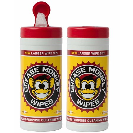 Grease Monkey Canister Heavy-Duty Cleaning Wipes Canister, 25-Count