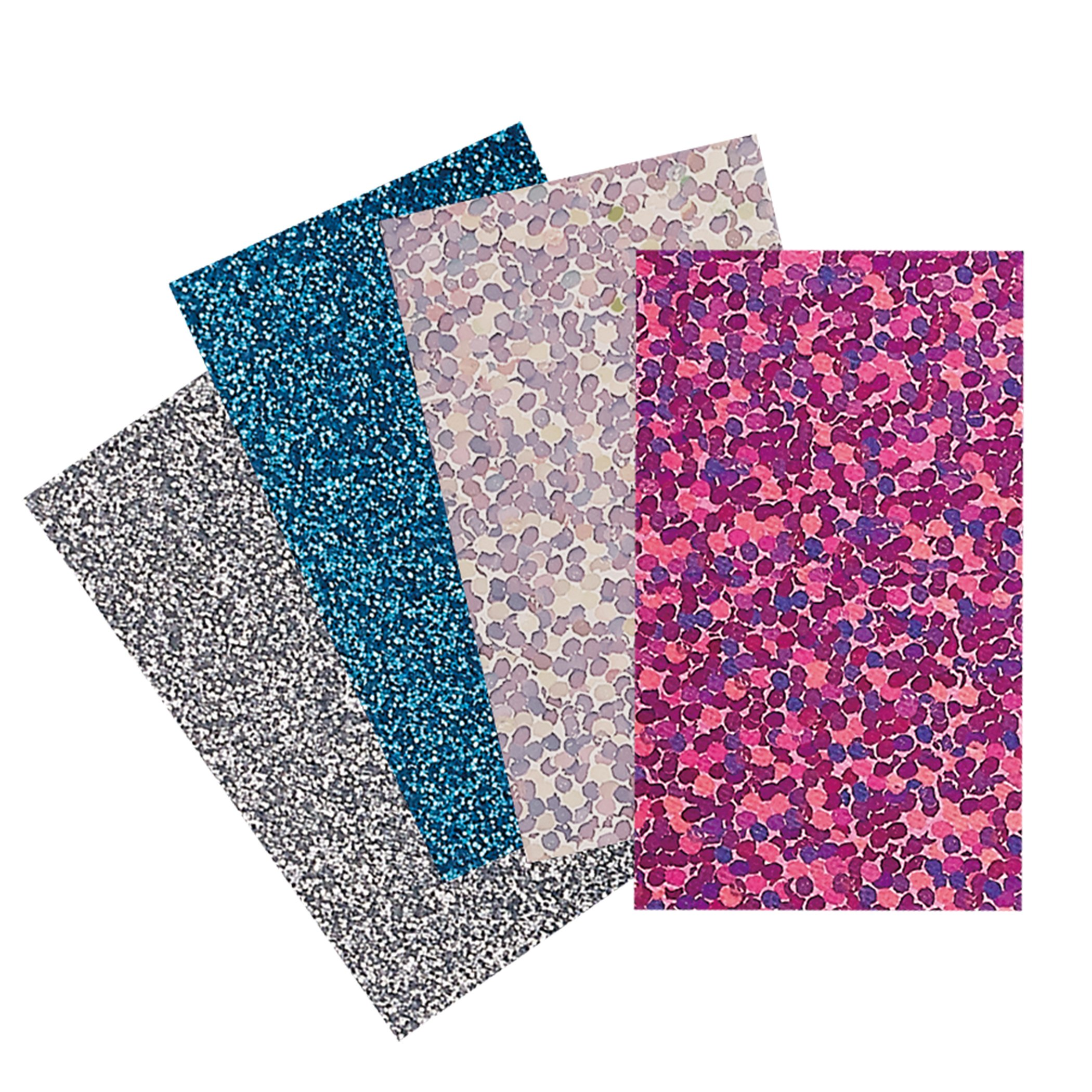 Brother Iron-on Transfer Sample Pack - Glitter & Holographic - Silver, Blue, Pink (catsp01)