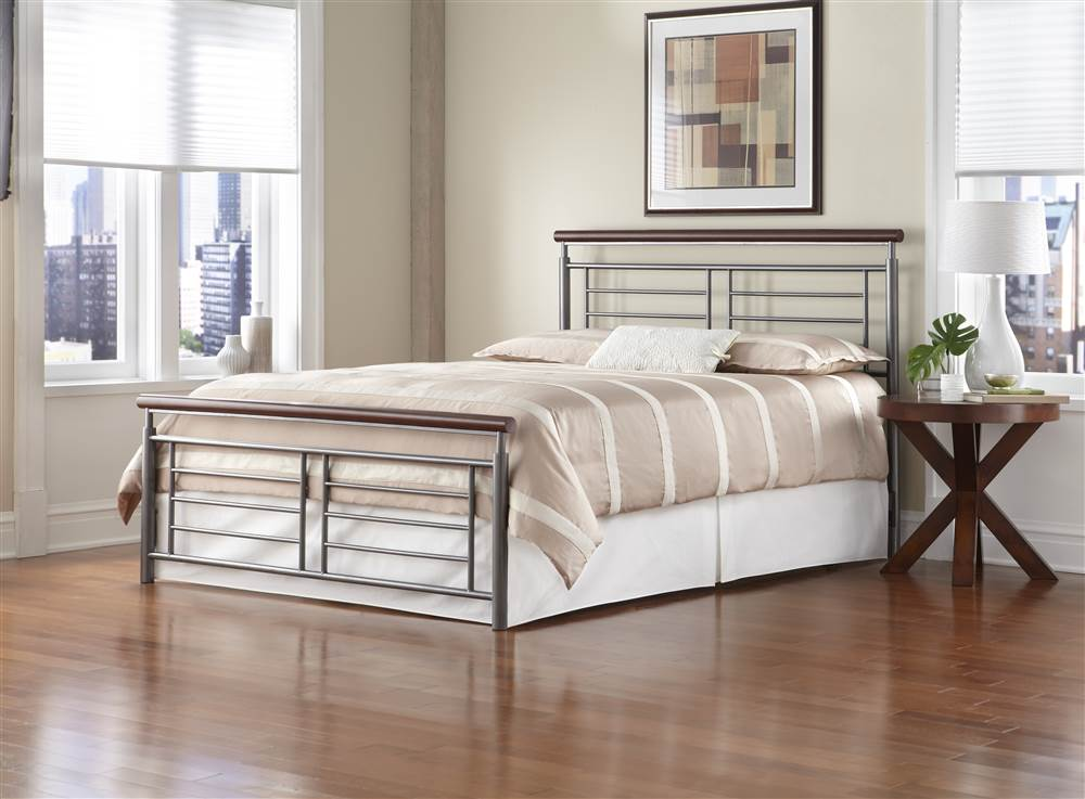 Fontane Metal Headboard with Geometric Panel and Rounded Cherry Top Rail,  Silver Finish, Queen - Walmart.com - Fontane Metal Headboard With Geometric Panel And Rounded Cherry