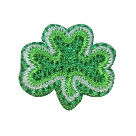 ID 3309B Three Leaf Clover Patch St Patrick Lucky Embroidered Iron On Applique - St Patricks Crafts