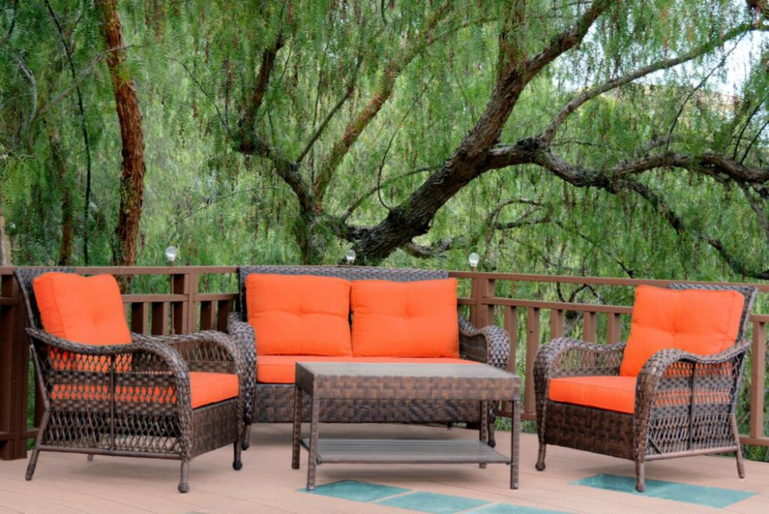 4-Piece Espresso Resin Wicker Outdoor Patio Conversation Furniture Set Orange Cushions by Resin Furniture