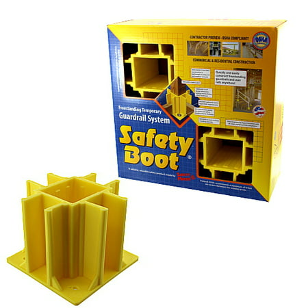 Safety Boots For Freestanding Temporary Guardrail System (Box of (Safety Boot Yellow Osha Compliant Guardrail Base)