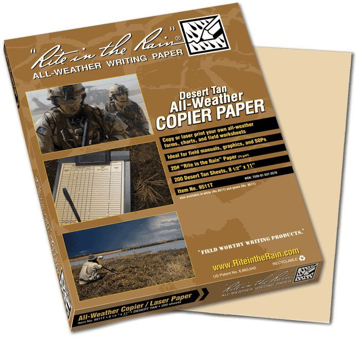 "Rite in the Rain 9517T All-Weather Copier Paper, Tan, 11"" x 17"" - 200 Sheets"