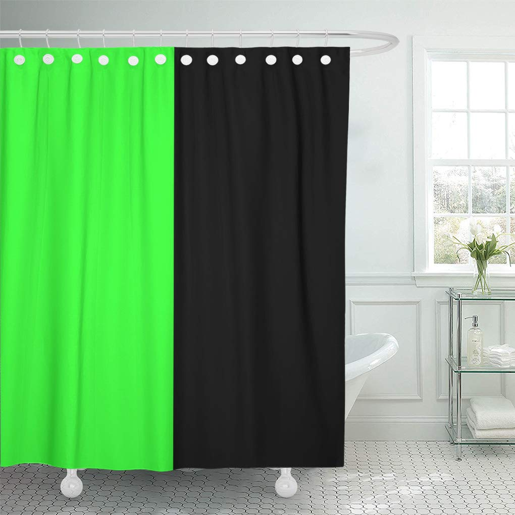 YUSDECOR Classic Black and Neon Green Split Retro Two Simplicity Bathroom  Decor Bath Shower Curtain 20x20 inch