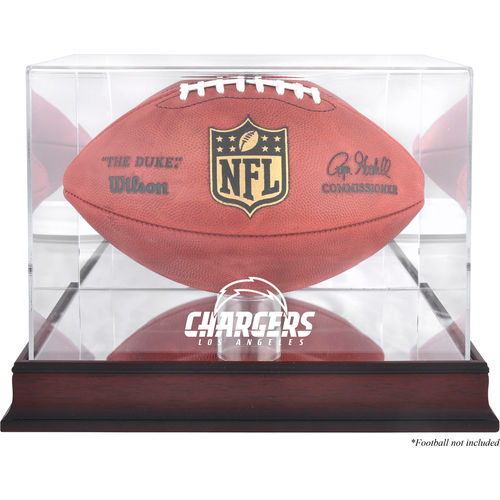 Los Angeles Chargers Mahogany Football Logo Display Case with Mirror Back