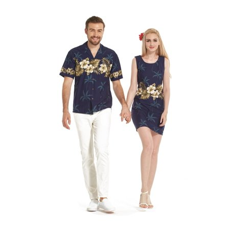 Made in Hawaii Couple Matching Luau Aloha Shirt Tank Dress Golden Hibiscus Palm Navy (Best Nightclubs In Hawaii)