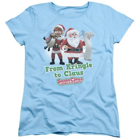 trevco santa claus kringle to claus light blue adult female t-shirt - Blue Santa Claus