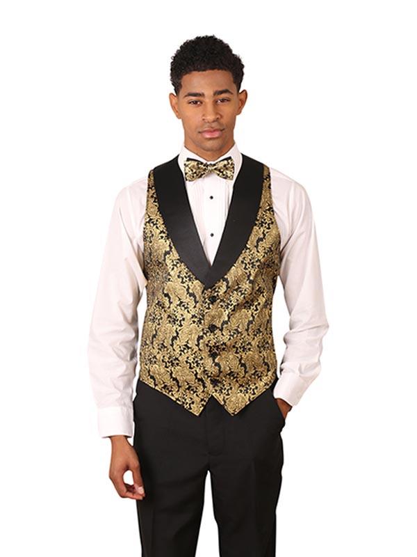 Men's Metallic Tuxedo Vest with Black Lapel