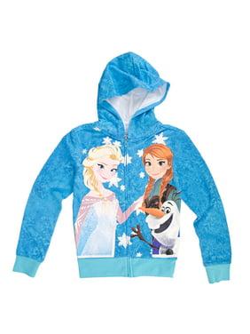 Disney Frozen Trio Girls Zip-Up Hoodie Sweatshirt | XS