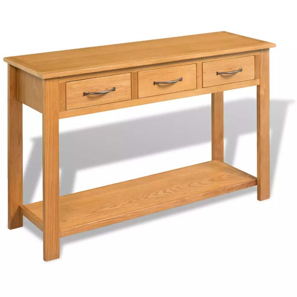 Tbest Solid Oak Console Table 3 Drawers Desk Side Wood Hall Hallway Entrance Com - Solid Oak Console Table With Storage