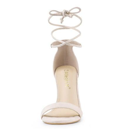 Allegra K Bride à la cheville des femmes des sandales habillées talon aiguille Beige 37.5 EU - image 1 de 7