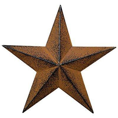 small dimensional primitive rustic steel metal barn star hanger, 8-inch, rust/black