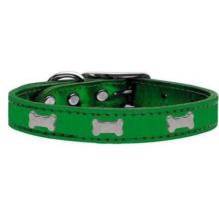 Silver Bone Widget Genuine Metallic Leather Dog Collar Emerald Green 2