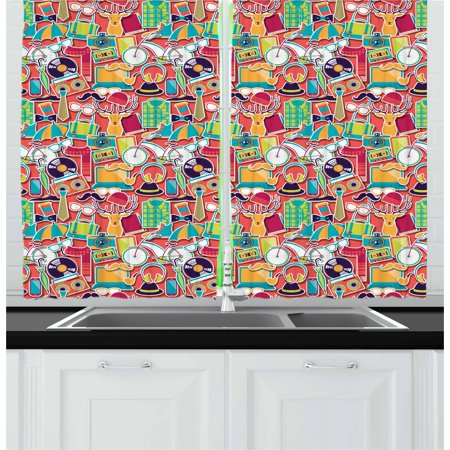 Indie Curtains 2 Panels Set  Colorful Hipster Design Elements Old Fashioned Culture Technology Urban Theme Funky  Window Drapes For Living Room Bedroom  55W X 39L Inches  Multicolor  By Ambesonne