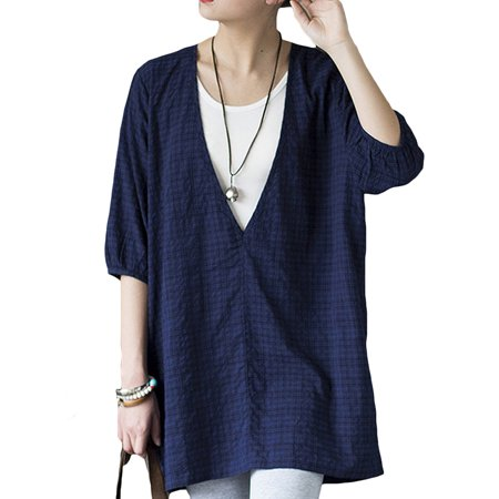 Womens Deep V Neck 3/4 Sleeve Casual Loose Tops