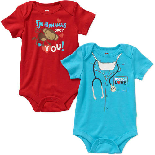 Valentine's Day Newborn Baby Boy Bodysuits - 2 Pack
