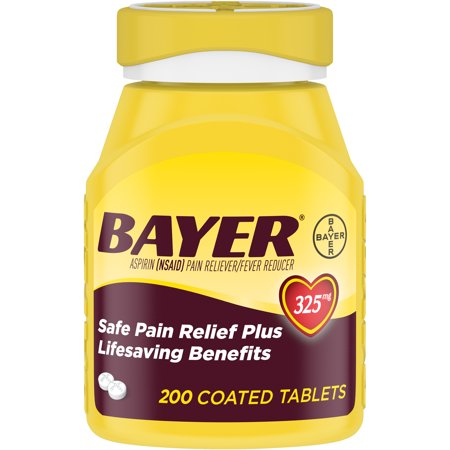 Genuine Bayer Aspirin Pain Reliever / Fever Reducer 325mg Coated Tablets, 200