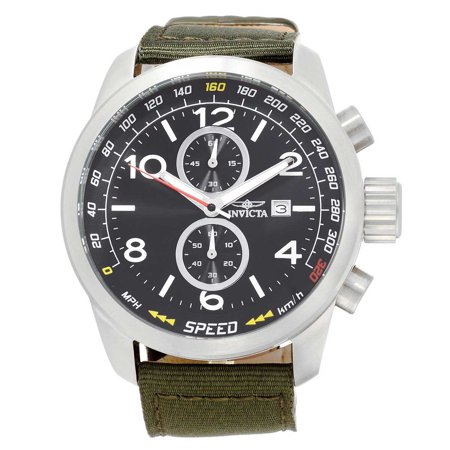 19409 Men's Aviator Black Dial Green Nylon Strap Chronograph Watch - Hour Dial Green Nylon Strap