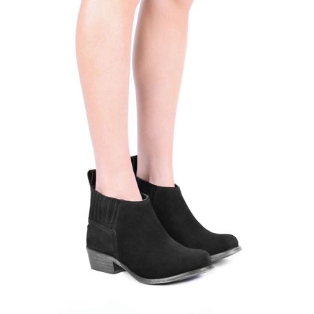 Jeffrey Campbell KI 2058 Black Suede Pull On Stacked Heel Round Toe Ankle Bootie (36)