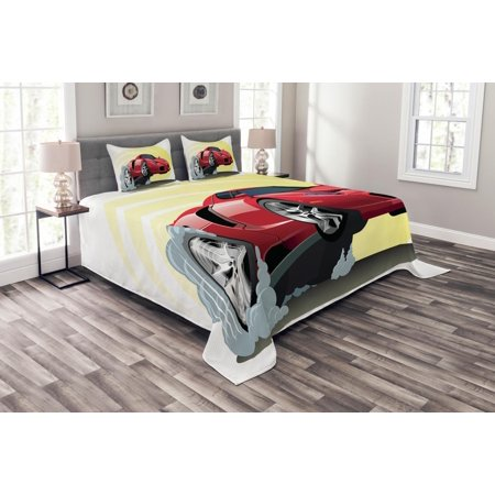 Giant Dahlia Quilt (Cars Bedspread Set, Powerful Cartoon Red Car Speeding Jumping with Smoke Coming Out Of Giant Tires, Decorative Quilted Coverlet Set with Pillow Shams Included, Red Yellow Gray, by Ambesonne )