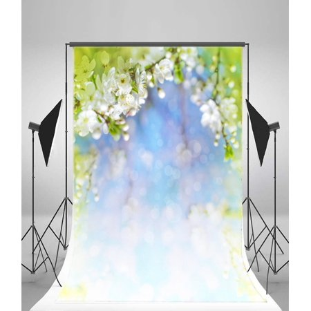GreenDecor Polyester Fabric 5x7ft Photography Backdrop Bokeh Dreamy Light  Spots Blooming Flowers Backdrops Children Baby Kids Portrait Shooting Video